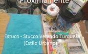 Pintores en Brunete – Aplicar Estuco Mitiko Color Gris y Turquesa con Cera – Monica