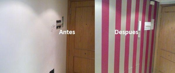 Papel pintado a Rayas Rojo y Plata (5)