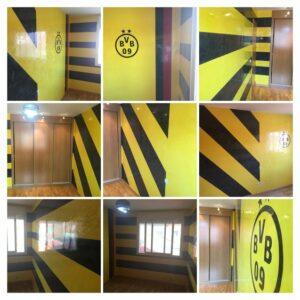 Estuco Veneciano Original a rayas amarillas y negras Borussia Dortmund - COLLAGE