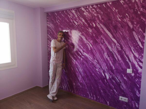 Video Estuco Mármol Color Violeta y Blanco