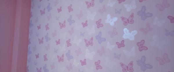 Plastico Rosa y Papel Pintado Mariposas (9)