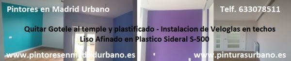 Pintores en Moratalaz – Quitar Golele – Veloglas – Plastico Liso – Esmalte Pymacril – Sara