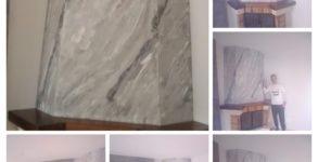estuco marmoleado a 3 colores en chimenea con cera alex -COLLAGE