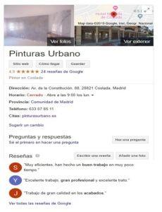 Reseñas de Google - Pinturas Urbano